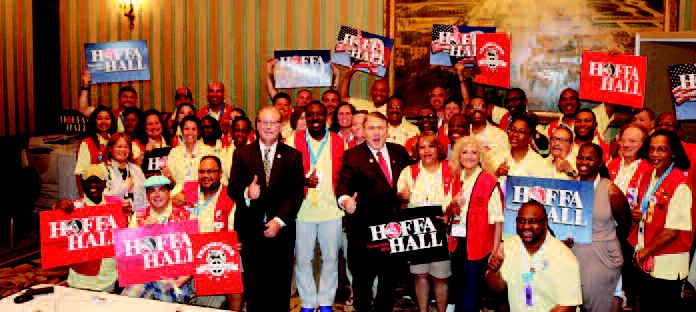 At the June 2016 Convention in Las Vegas, Local 237 members show their support for the Hoffa-Hall slate. Ken Hall, General Secretary-Treasurer, center left, Gregory Floyd, International Vice President At-Large for the Eastern Region, center, and Jim Hoffa, General President, center right.