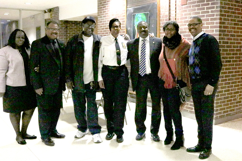 Bertha Aiken, Director of Training and Education; Donald Arnold, Director, Citywide; George Jackson, HRA Custodial Shop Steward; Terrelle Moore, Queens South Executive Director; Gregory Floyd, President Teamsters Local 237; Kangela Moore, Queens South Trainer, School Safety Agent, Level 3 and Derek Jackson, Director, Law Enforcement.